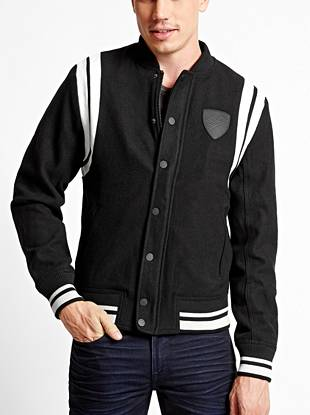 Channel the most-wanted athletic trend with this heavyweight varsity jacket. Wool-blend construction keeps you warm through the season and striped details give it that signature collegiate look.