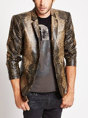 As seen in our Fall 2014 Campaign, this faux-leather blazer makes a daring night-out statement. The naturally-textured snake print makes it a headlining favorite for the trend-driven guy.