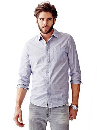 Sunset Long-Sleeve Chambray Slim-Fit Shirt