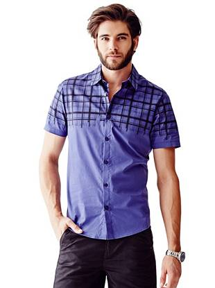 Short-Sleeve Faded Check-Print Slim-Fit Shirt