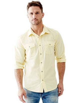 Long-Sleeve Two-Pocket Regular-Fit Shirt