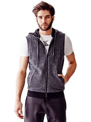 Sleeveless Fleck and Faux-Leather Hooded Vest