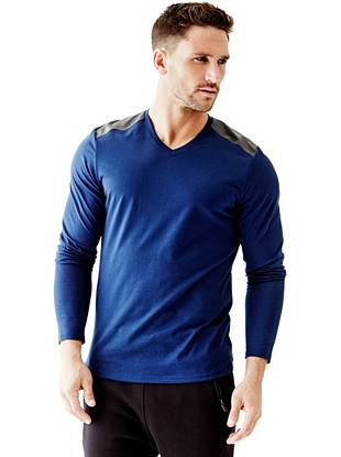 Liam Long-Sleeve Faux Leather-Panel tee