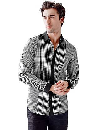 Long-Sleeve Gingham Pieced Slim-Fit Shirt