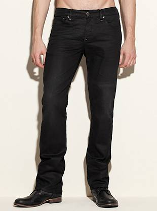 """With a confident slim fit and straight leg, these jeans are ideal for dressing things up. A traditional five-pocket construction keeps them classic and a coated finish makes them modern.       • Low rise  • Slim fit  • Straight leg  • Five pocket construction  • Belt loops • Solar wash   • Zip fly  • Whiskered detail  • 8 ¼"""" front rise • 12 ½"""" back rise • 16"""" leg opening • 32"""" inseam • 100% Cotton  • Machine wash      Measurements taken from a size 32   SOLAR WASH: This pair is constructed with medium-weight coated European denim with a comfort stretch. A special fi"""