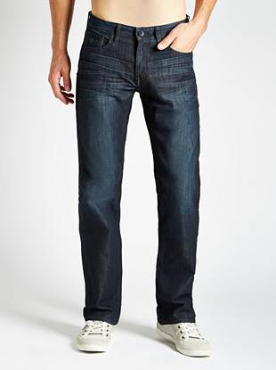 European denim in a versatile dark wash and relaxed fit  Made with medium-weight European denim and cut in our most relaxed fit, these straight-leg jeans are a wardrobe essential for every guy. They have a low rise, more room through the thigh and slight stretch so they're easy to wear. They're washed to our signature dark shade and finished with 3D whiskers and soft hand-sanding to create a slightly worn-in look that's perfect for any time of day (or night).