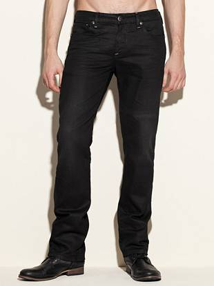 """With a confident slim fit and straight leg, these jeans are ideal for dressing things up. A traditional five-pocket construction keeps them classic and a coated finish makes them modern.       • Low rise  • Slim fit  • Straight leg  • Five pocket construction  • Belt loops • Solar wash   • Zip fly  • Whiskered detail • 8 ¼"""" front rise • 12 ½"""" back rise • 16"""" leg opening • 30"""" inseam • 100% Cotton  • Machine wash      Measurements taken from a size 32"""