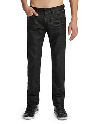 """With a confident slim fit and straight leg, these Lincolns are ideal for dressing things up. A traditional five-pocket construction keeps them classic and a light sheen makes them modern. Whether you go with the basic or studded pair, these jeans give you major style points.        • Low rise • Slim fit • Straight leg • Five pocket construction • Black with Studs color features pyramid studs along front pockets • Belt loops • Solar wash  • Zip fly • 3-D whiskering • 8 ¼"""" front rise • 12 ½"""" back rise • 16"""" leg opening • 32"""" inseam • 100% Cotton • Machine wash     Measu"""