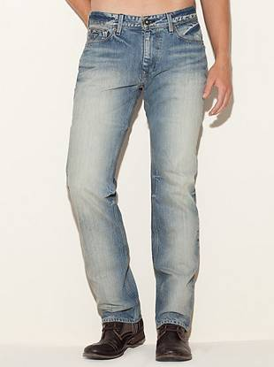 """Get the classic denim feel with a modern slim fit in these laid-back straight leg jeans.      • Low rise  • Slim fit  • Straight leg  • Five pocket construction  • Belt loops • Zip fly  • Faded throughout. Whiskers at the thighs and backs of the knees. • 8 ¼"""" front rise • 12 ½"""" back rise • 16"""" leg opening • 34"""" inseam  • 100% Cotton  • Machine wash      Measurements taken from a size 32    RANK WASH: The Rank wash is a light blue shade on heavy-weight indigo denim. To get its authentic vintage look, the jeans are sprayed with potassium to fade the indigo and then get"""