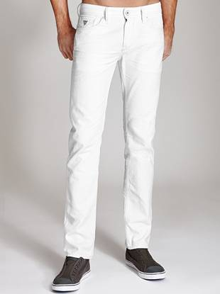 Revive your warm-weather look with this modern pair of white jeans. With a low rise, sleek tapered leg and super-soft wash, this laid-back style is an easy alternative to your indigo jeans. Made from medium-weight denim and crafted with painted rivets and a leather logo patch, these slim-fit jeans are styled for ultimate casual-cool appeal.