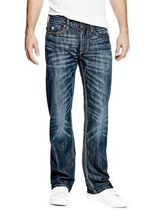 Relaxed Straight Leg Jeans - Relaxed Straight Jeans in Throttle Ride Wash