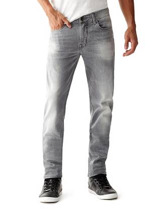 WHY YOU NEED IT: Our most sought-after straight fit, this pair's made with denim that offers slight stretch to keep you comfortable. Modern straight leg slims down slightly below the knee for a more close-cut look. The medium grey shade acts as a perfect everyday alternative to classic indigo.