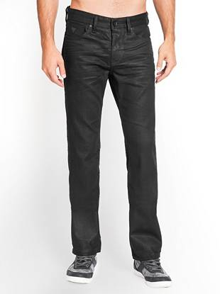 """Black European denim in a relaxed-straight fit—perfect for nights out Constructed with medium-weight coated European denim, these relaxed-fit jeans are ideal for after-dark style. The denim features a comfort stretch characteristic and the straight leg opening works with everything from sneakers to boots. A special finish uses resin and a 3-D press crunch for extra dimension, and genuine leather trim at the back pockets adds the final detail.  •Low rise •Relaxed fit •Straight leg •Five pocket construction with genuine leather trim on back pockets •Zip fly  •10"""" front rise •14 ¾"""""""