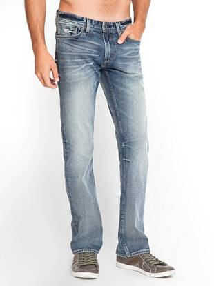 Made with heavy-weight denim, these low rise jeans are a new basic for the guy who likes a more casual pair. The relaxed fit and straight leg give you an easygoing look, while the comfort-stretch fabric keeps you comfortable. They're washed to a medium light shade and finished with hand-sanding to bring out the natural slub characteristics of the denim.