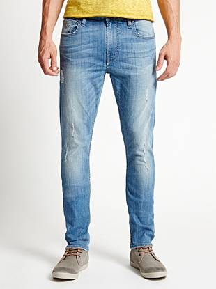 WHY YOU NEED IT: Skinny from top to bottom, this new signature fit sits low on your hips and is great for slim builds. These jeans are stone washed to a medium-light indigo and distressed just the right amount for a laid-back, worn-in effect.