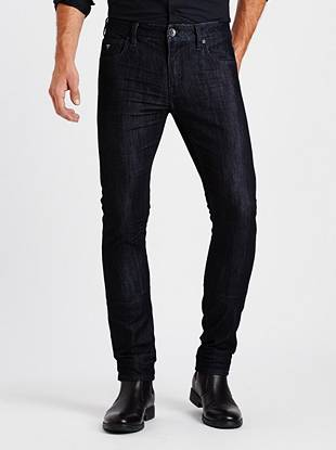 Online Exclusive WHY YOU NEED IT: Skinny from top to bottom, this new signature fit sits low on your hips and is great for slim builds. This pair's made with American denim that features a slight sheen—perfect for dressing up or down.