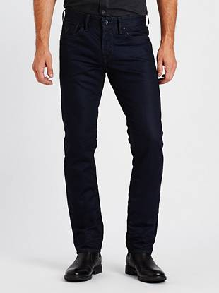 Our popular new fit in indigo-coated European denim   With its low rise, slim fit and tapered leg, the Robertson is the perfect choice for the modern guy. This pair is made with high-quality indigo-coated denim from Europe and features grey stitching for a cool two-tone look. A resin rinse, 3-D whiskers and crunched texture at the bottom hem finish these jeans with some worn-in appeal.
