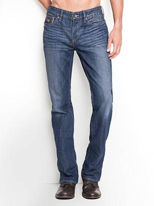 """One of our most popular washes in a classic bootcut fit     With a little more room in the thigh than our slim-fit styles, these easy-to-wear bootcut jeans give you a modern look with a comfortable fit. This pair is made with medium-weight, comfort-stretch denim from Turkey. They're stone washed to a bright indigo shade and finished with leather logo patches, hand-creased 3-D whiskers and hand-sanding for a versatile worn-in look. • Low rise • Regular fit • Bootcut • Five pocket construction  • Belt loops • Button fly • 9 ¼"""" front rise • 14 ½"""" back rise • 19 ¾"""" leg opening • 32"""""""