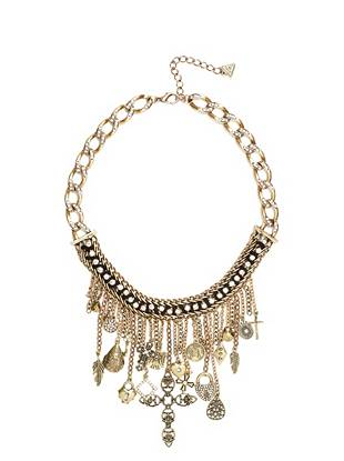 Statement-making and modernly glamorous, this fashion-packed piece adds instant edge to any look. Woven details, chain fringe and vintage-inspired charms mix to create an accessory worth coveting.