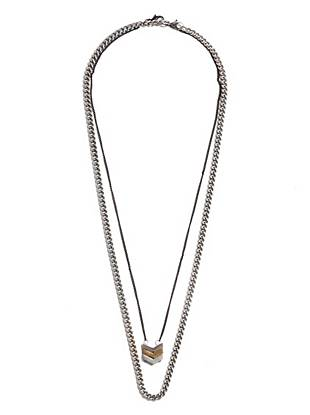 A multi-tone chevron pendant makes this double-layer chain necklace the ideal casual accent.