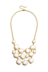 White Faceted Stone Cascade Necklace