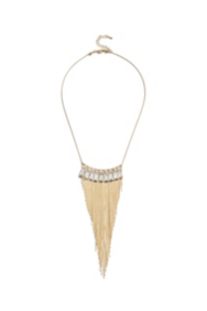 Fringed Chain And Rhinestone Necklace