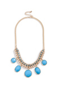 Blue Faceted Statement Necklace
