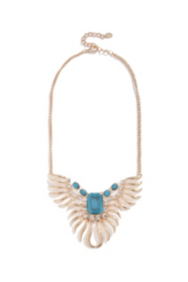 Feather Statement Necklace With Stone Detail