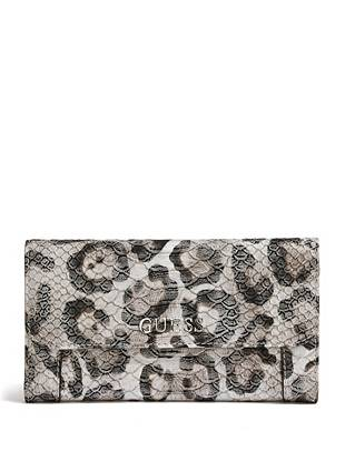 Perfect for tucking under your arm or keeping in the matching tote, this clutch keeps all your essentials close. The covetable snow leopard print is finished with a python-embossed exterior, making it a go-to for the daring style-setter.