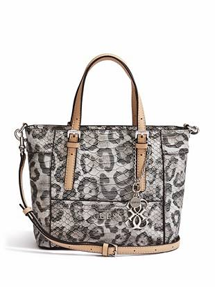 Your favorite mini bag takes on an exotic new look with this fashion-packed tote. The covetable snow leopard print is finished with a python-embossed exterior, making it a go-to for the daring style-setter.