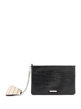 Crocodile-Embossed Wristlet Clutch