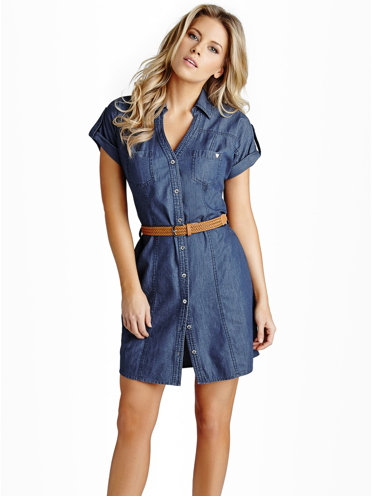 Guess women 39 s cherie chambray shirtdress ebay for Chambray 7 s