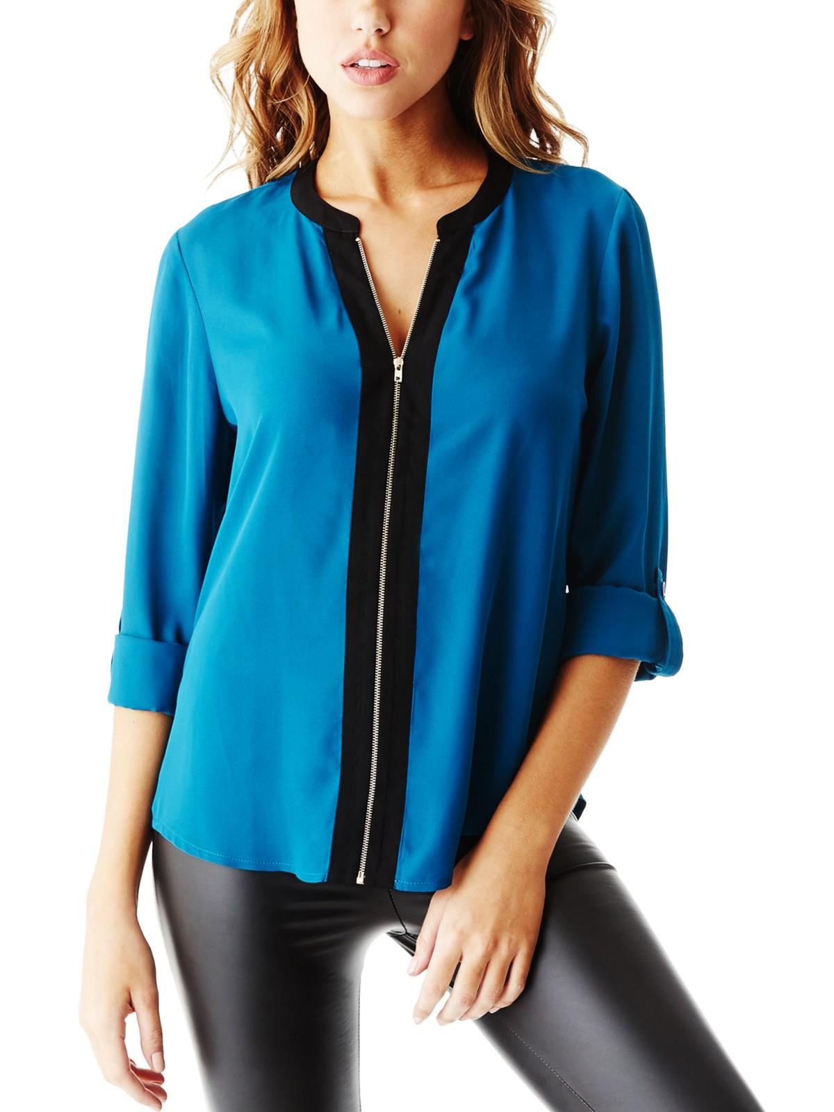 Guess Women 39 S Lunex Zip Front Shirt Ebay