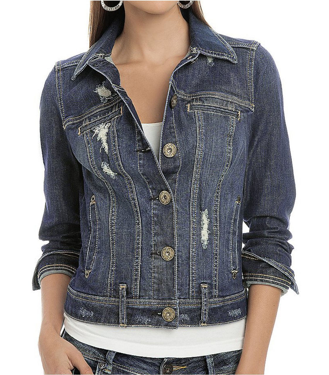 G by GUESS Trespasser Denim Jacket, DARK DESTROY WASH (XS)
