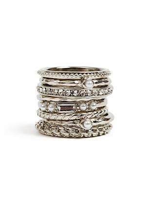 Take your trend-perfect looks to the next level by slipping on this silver-tone ring set. Wear them together or mix and match for effortless glamour wherever you go.