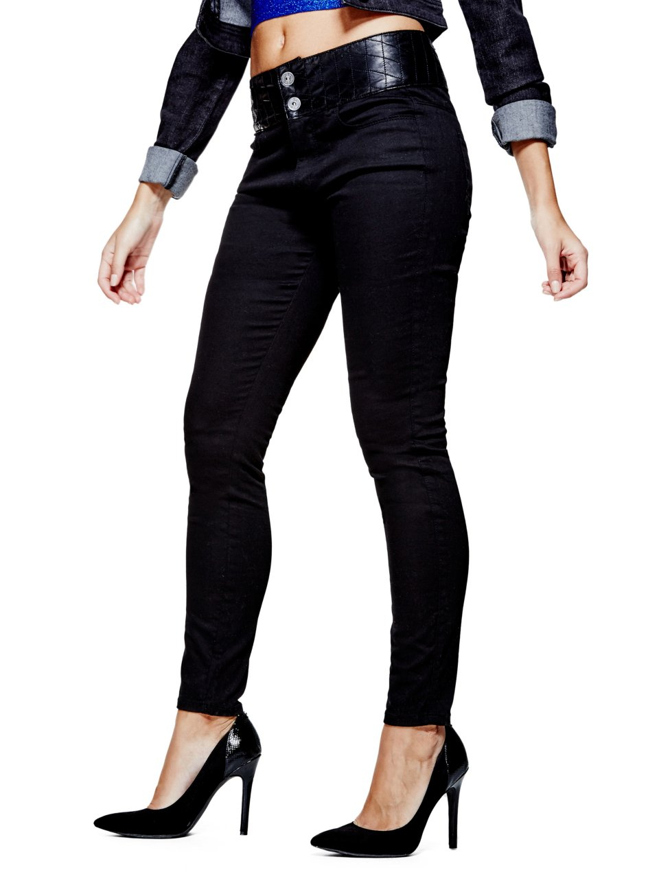 Cheyanna Quilted-Waist Skinny Jeans