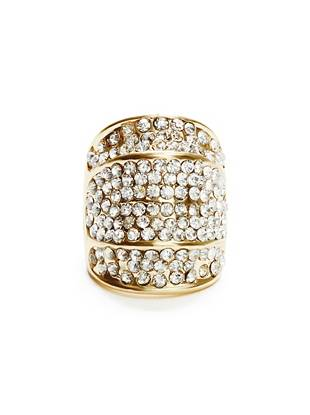 Gold-Tone Rhinestone Cocktail Ring