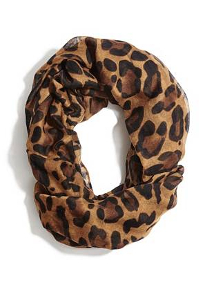 Trend-driven leopard print and a modern infinity design make this scarf your new go-to accessory.