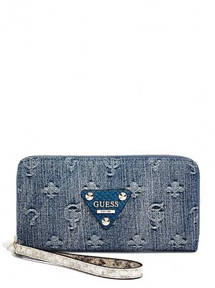 Your favorite denim and our iconic logo team up to bring you this versatile zip-around clutch. Slip it through your wrist, tuck it under your arm, or keep it in the matching satchel—it's the ultimate grab-and-go essential.