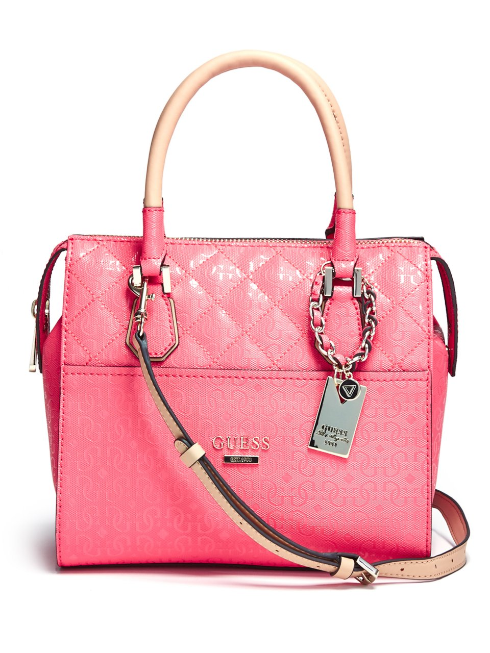 ... Guess Romeo Box Satchel Handbag With Wallet(coral UPC 885935771887  product image for Romeo Box Satchel  c63bc5833989b