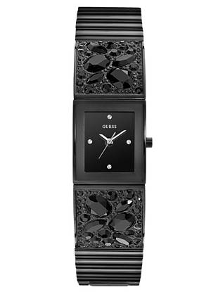 Chunky faceted crystals and a sleek noir finish give this on-trend timepiece a look that's edgy yet feminine. •Analog function •Watch dimensions in mm: 21/24/09 •Black case •Black dial •Polished black link bracelet with faceted crystals. Adjustable. •Water resistant •10 Year Limited Warranty