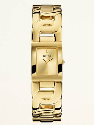 A delicate-sized timepiece with an intricate chain band lends a classic watch feminine appeal. Wrap it around your wrist and effortlessly navigate from day-to-night in chic style.  •Analog function •Watch measurements in mm: 22/27/10 •Gold-tone case •Gold-tone dial •Gold-tone bracelet. Self-adjustable. •Water resistant •10 Year Limited Warranty