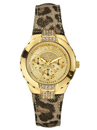 As part of its global fundraising effort, GUESS Watches is proud to donate a portion of the proceeds from the sale of this watch to Refilwe Community Project in South Africa. •Multifunction: stopwatch, day, date and 24 hour international time •Watch measurements in mm: 36/36/12 •Polished gold-tone case •Gold-tone dial with crystal detail  •Leopard-print leather strap •Water resistant to 50m/165ft •10 Year Limited Warranty