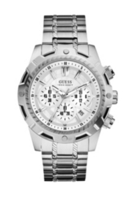Brushed Silver-Tone Bold Sport Chronograph Watch