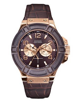 Brown and Rose-Gold Tone Rigor Standout Sport Casual Watch