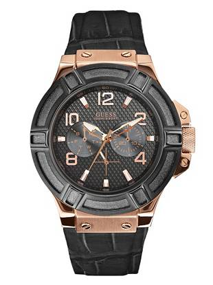 Rich colors and a high-shine dial bring masculine edge to this multifunctional timepiece. Wear it casually on the weekends or with work attire during the week for an undeniably sleek finish.      • Multifunction: day, date and 24 hour international time • Watch dimensions in mm: 46/46/13 • Brushed and polished rose gold-tone case with black top ring • Black dial • Black crocodile leather strap • Water resistant up to 100 m/330 ft • 10 year limited warranty