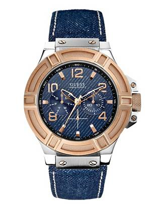 Wear your favorite denim in a new form with this trend-forward multifunctional timepiece. Radiant rose gold and silver tones perfectly complement the dark indigo, making it ideal for the guy in the know.