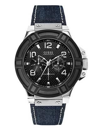 Denim, Black and Silver-Tone Rigor Standout Sport Watch