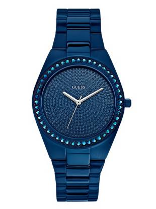 Radiate head-to-toe glamour: this watch's gorgeously glitzy appeal adds a sexy accent to every look. The goes-with-everything navy hue makes for a perfect finish. •	Analog function •	Watch dimensions in mm: 39/39/12 •	Blue ionic-plated case •	Blue glitz dial •	Blue ionic-plated steel bracelet •	Water resistant up to 100 m/330 ft •	10 Year Limited Warranty