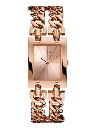 Bold chains bring an enticing new look to this radiant rose gold-tone watch. Team it with your day or night ensembles for rebellious edge wherever you go.